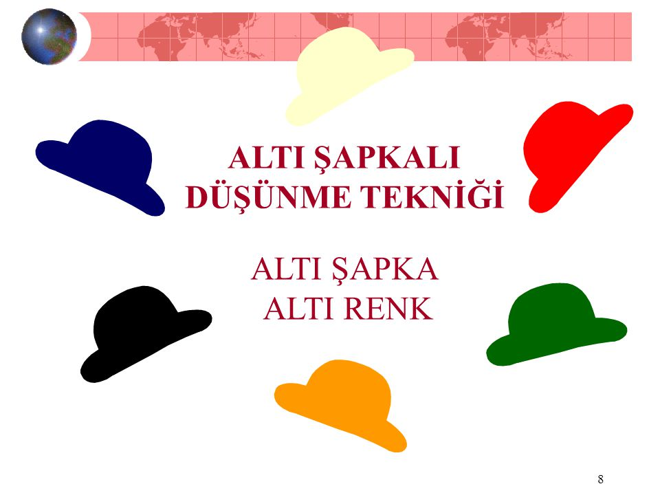 7 Altı Şapkalı Düşünme Tekniğinin Bize Getirdiği Yenilikler Düşüne takımların, düşünce sistemlerini altı değişik renkteki şapka altında toplayarak, ta