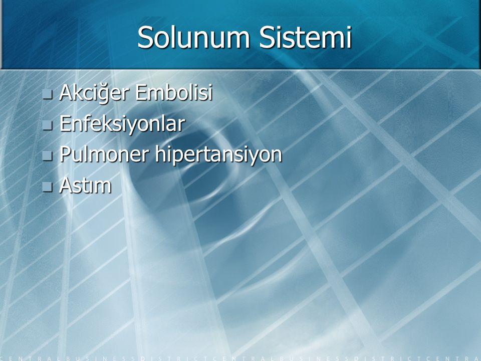 Solunum Sistemi  Akciğer Embolisi  Enfeksiyonlar  Pulmoner hipertansiyon  Astım