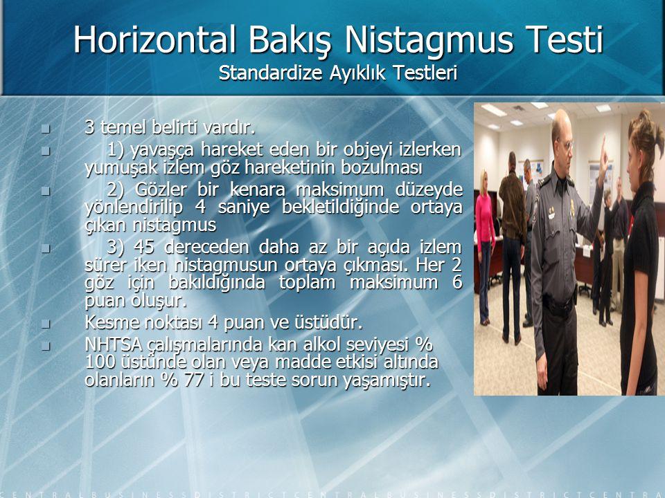 Horizontal Bakış Nistagmus Testi Standardize Ayıklık Testleri  3 temel belirti vardır.  1) yavaşça hareket eden bir objeyi izlerken yumuşak izlem gö