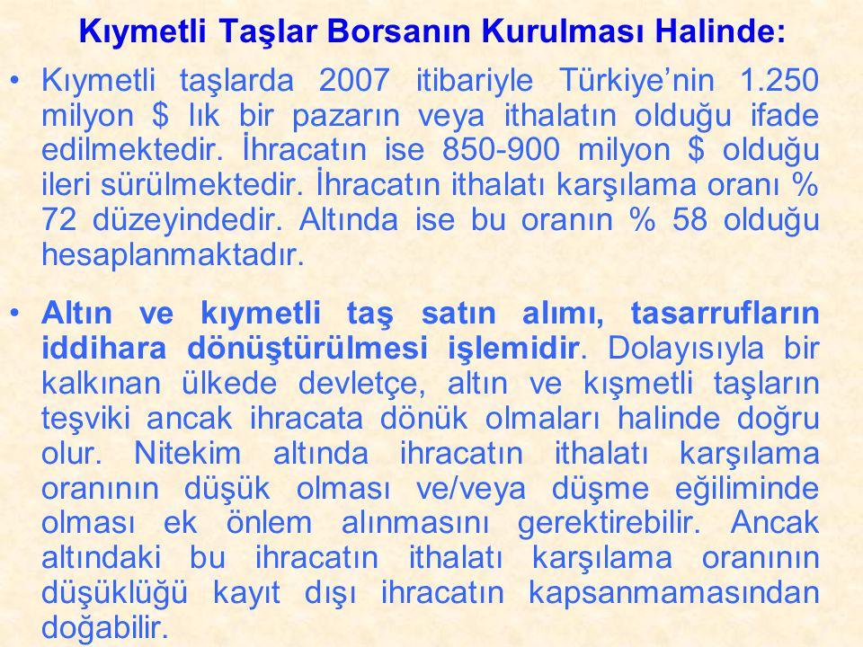 •Bu nedenle %20'lik ÖTV'nin kaldırılması, tercihan pırlanta borsasının kurulması ile 1.500 yabancı firmanın, istihdamlarını Türkiye'ye taşımaları ve elmas taş kesme sanatını öğretmeleri ve ihracata dönük kapasite yaratmaları şartına bağlanmalıdır.