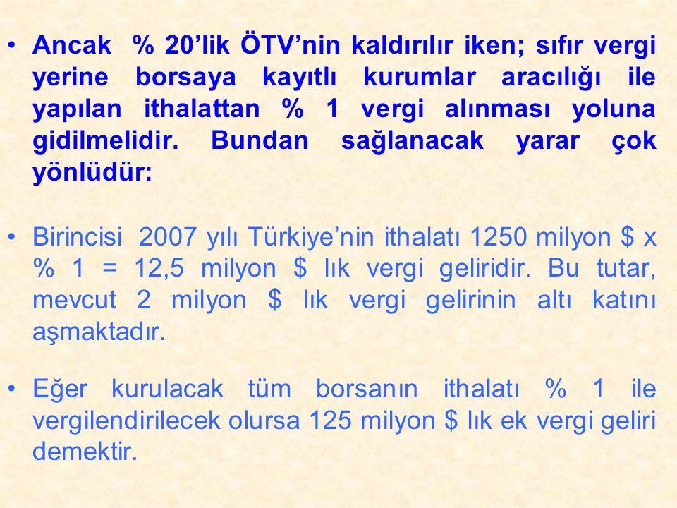•Ancak % 20'lik ÖTV'nin kaldırılır iken; sıfır vergi yerine borsaya kayıtlı kurumlar aracılığı ile yapılan ithalattan % 1 vergi alınması yoluna gidilmelidir.