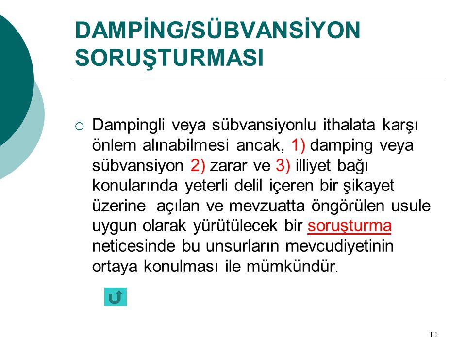 11 DAMPİNG/SÜBVANSİYON SORUŞTURMASI  Dampingli veya sübvansiyonlu ithalata karşı önlem alınabilmesi ancak, 1) damping veya sübvansiyon 2) zarar ve 3)