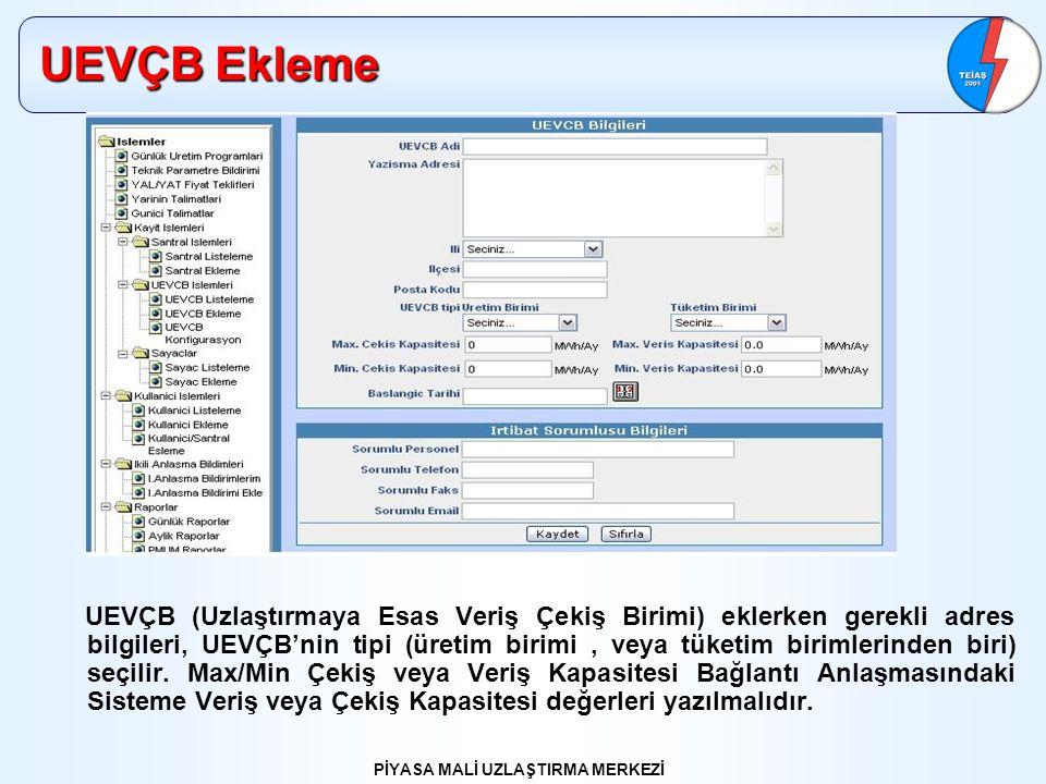 PİYASA MALİ UZLAŞTIRMA MERKEZİ UEVÇB Ekleme UEVÇB (Uzlaştırmaya Esas Veriş Çekiş Birimi) eklerken gerekli adres bilgileri, UEVÇB'nin tipi (üretim biri