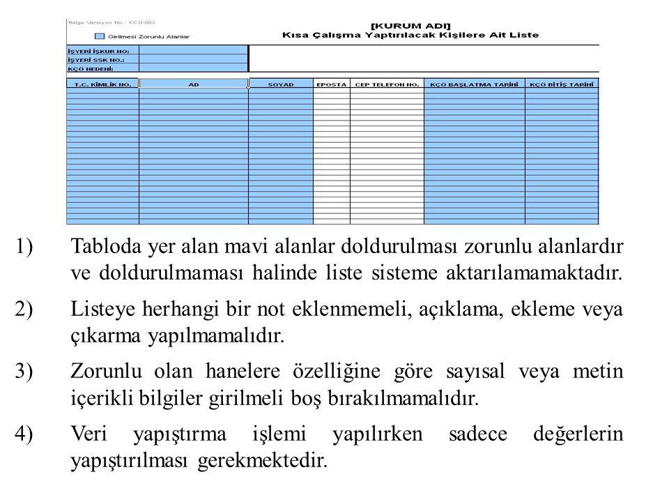 1)Tabloda yer alan mavi alanlar doldurulması zorunlu alanlardır ve doldurulmaması halinde liste sisteme aktarılamamaktadır.