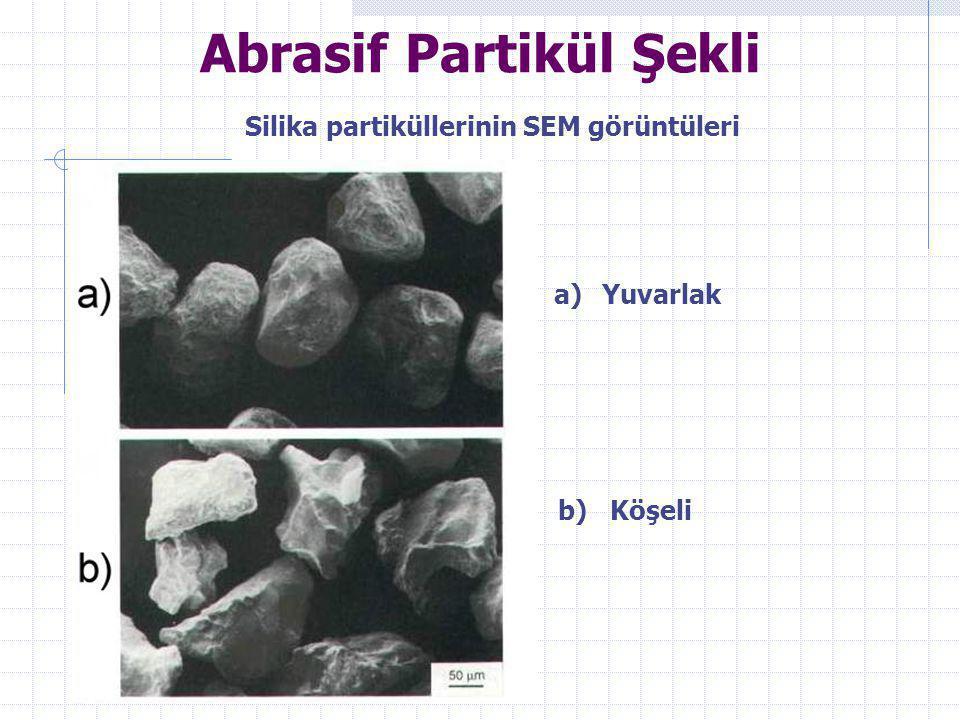 Abrasif Partikül Şekli Silika partiküllerinin SEM görüntüleri a)Yuvarlak b) Köşeli