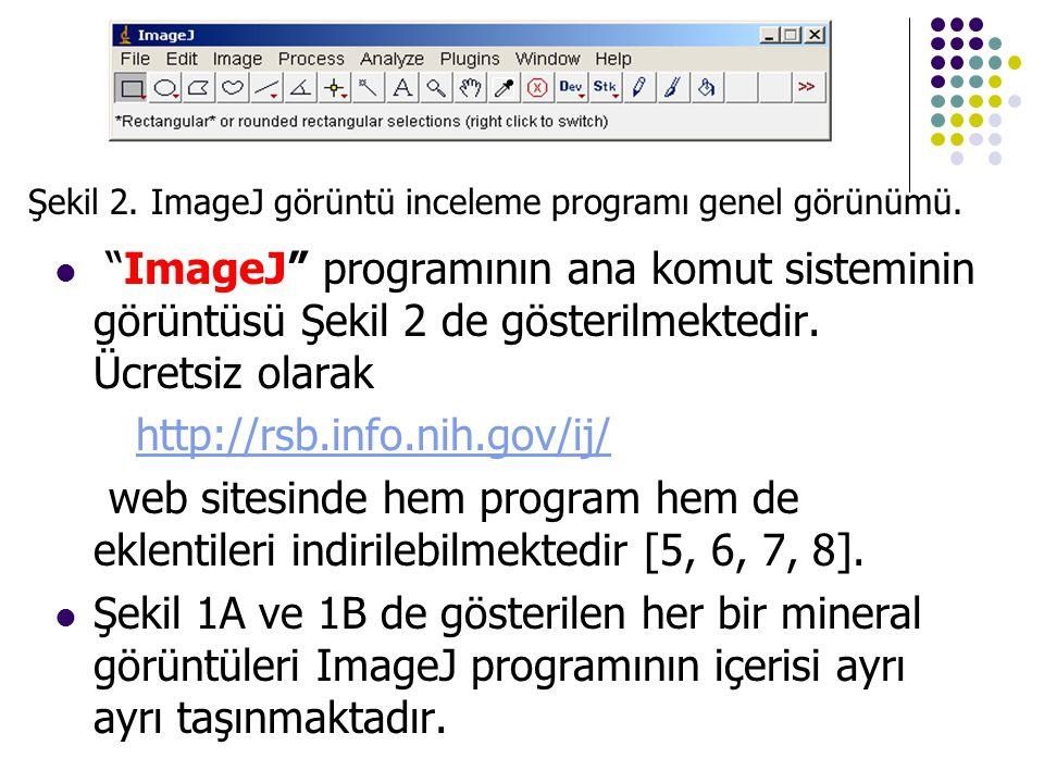 """ """"ImageJ"""" programının ana komut sisteminin görüntüsü Şekil 2 de gösterilmektedir. Ücretsiz olarak http://rsb.info.nih.gov/ij/ web sitesinde hem progr"""