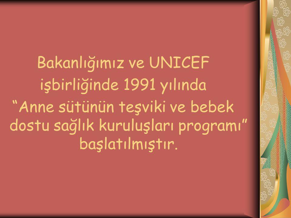 Bakanlığımız ve UNICEF işbirliğinde 1991 yılında Anne sütünün teşviki ve bebek dostu sağlık kuruluşları programı başlatılmıştır.