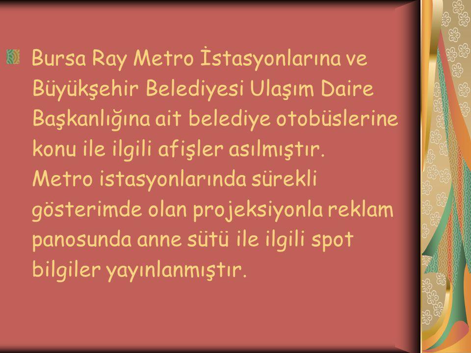 Bursa Ray Metro İstasyonlarına ve Büyükşehir Belediyesi Ulaşım Daire Başkanlığına ait belediye otobüslerine konu ile ilgili afişler asılmıştır.