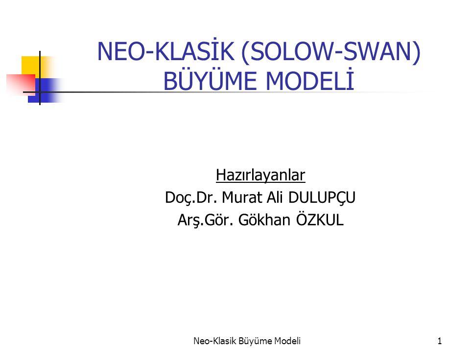 Neo-Klasik Büyüme Modeli1 NEO-KLASİK (SOLOW-SWAN) BÜYÜME MODELİ Hazırlayanlar Doç.Dr. Murat Ali DULUPÇU Arş.Gör. Gökhan ÖZKUL