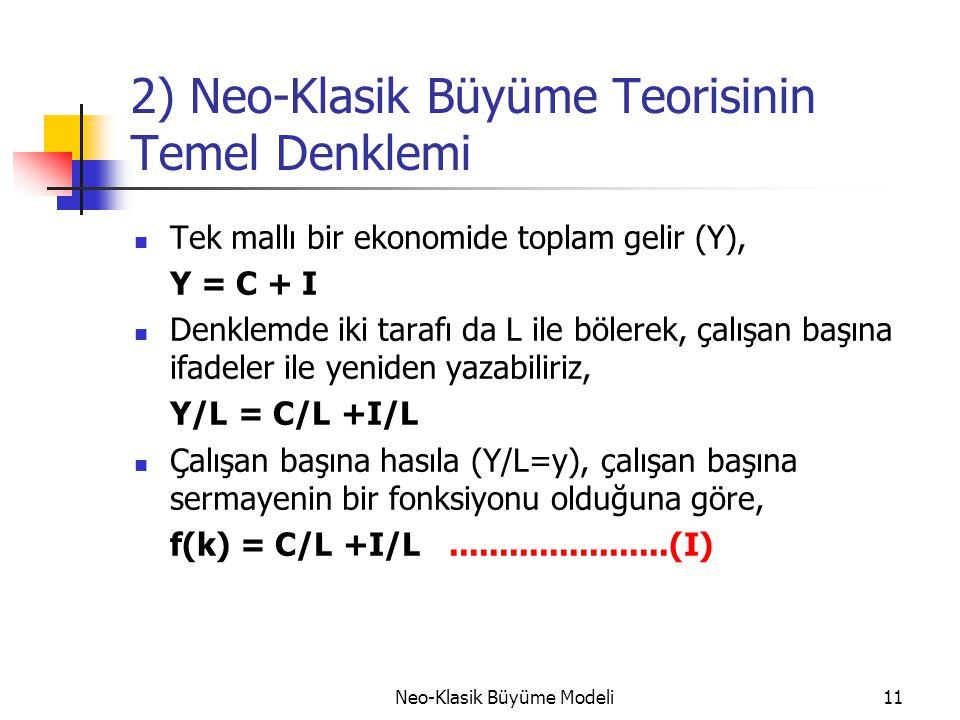 Neo-Klasik Büyüme Modeli11 2) Neo-Klasik Büyüme Teorisinin Temel Denklemi  Tek mallı bir ekonomide toplam gelir (Y), Y = C + I  Denklemde iki tarafı