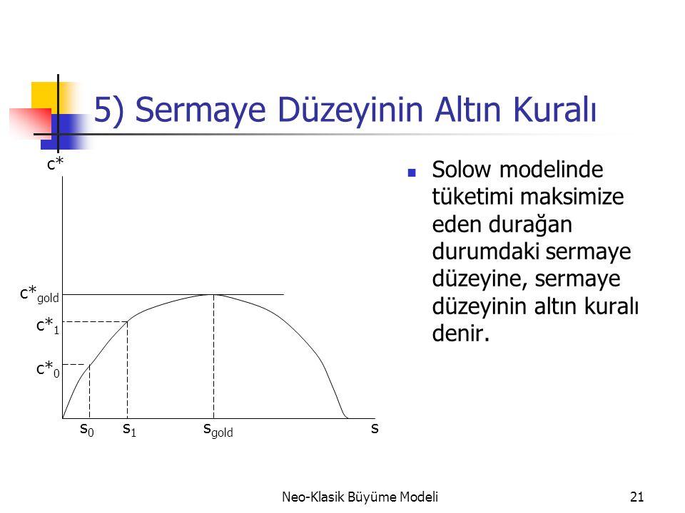 Neo-Klasik Büyüme Modeli21 5) Sermaye Düzeyinin Altın Kuralı  Solow modelinde tüketimi maksimize eden durağan durumdaki sermaye düzeyine, sermaye düz