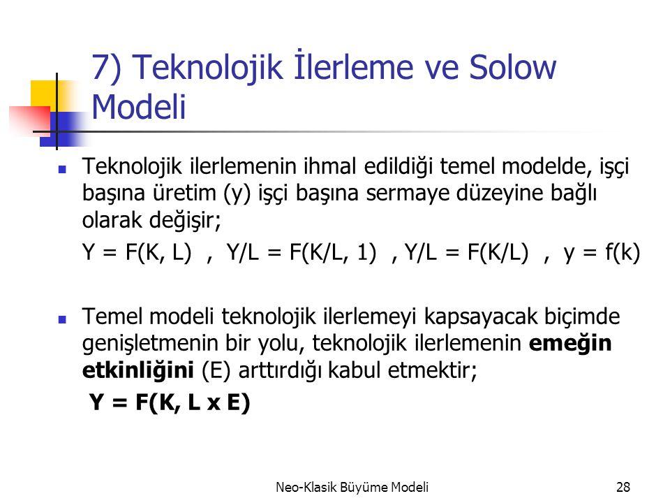 Neo-Klasik Büyüme Modeli28 7) Teknolojik İlerleme ve Solow Modeli  Teknolojik ilerlemenin ihmal edildiği temel modelde, işçi başına üretim (y) işçi b