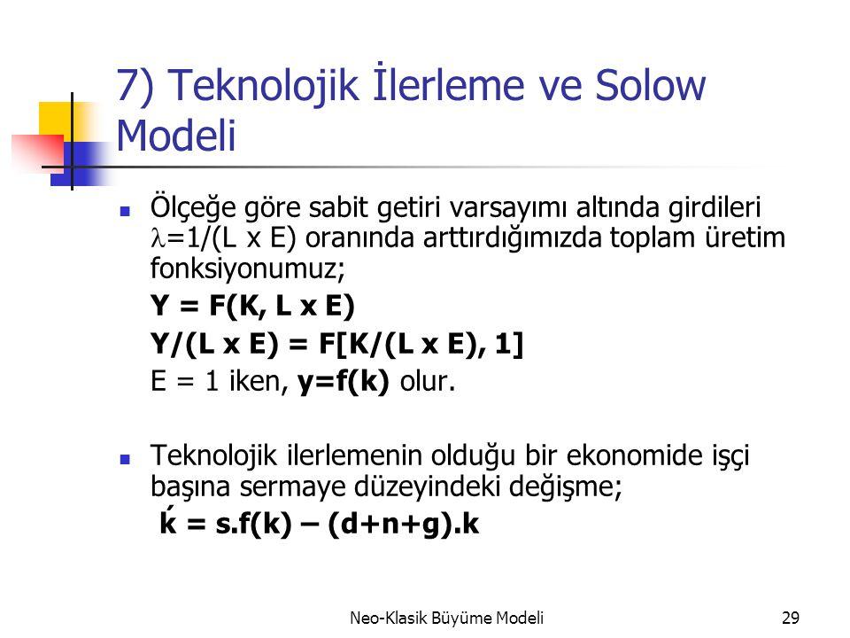Neo-Klasik Büyüme Modeli29 7) Teknolojik İlerleme ve Solow Modeli  Ölçeğe göre sabit getiri varsayımı altında girdileri  =1/(L x E) oranında arttırd