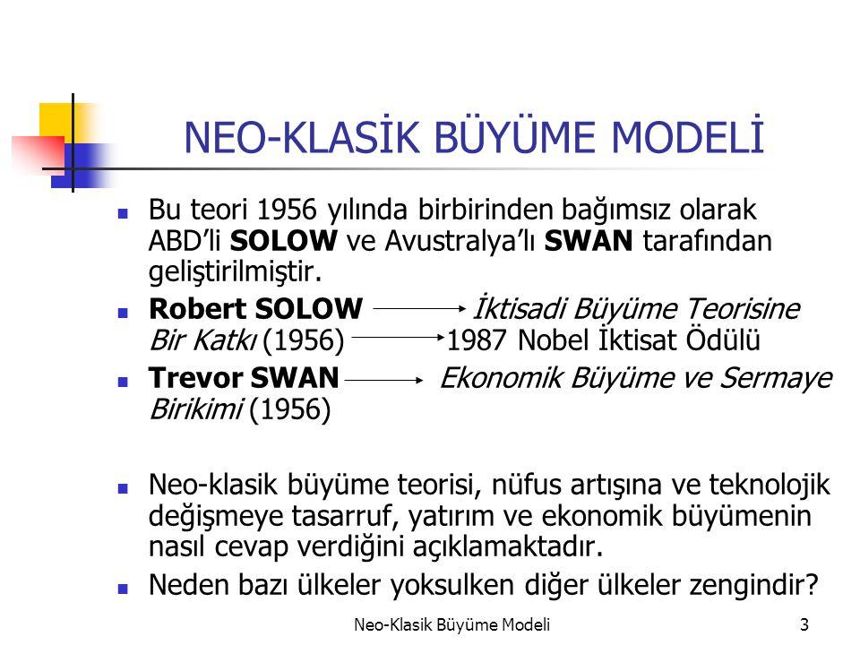 Neo-Klasik Büyüme Modeli3 NEO-KLASİK BÜYÜME MODELİ  Bu teori 1956 yılında birbirinden bağımsız olarak ABD'li SOLOW ve Avustralya'lı SWAN tarafından g