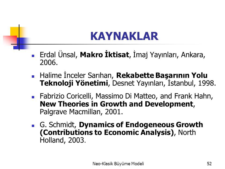 Neo-Klasik Büyüme Modeli52 KAYNAKLAR  Erdal Ünsal, Makro İktisat, İmaj Yayınları, Ankara, 2006.  Halime İnceler Sarıhan, Rekabette Başarının Yolu Te