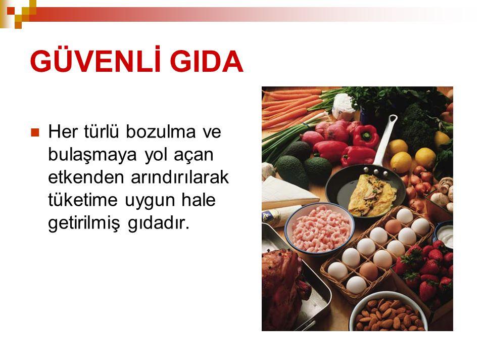 GIDA GÜVENLİĞİ  Tüketilen gıdanın sağlığa zarar vermemesidir.