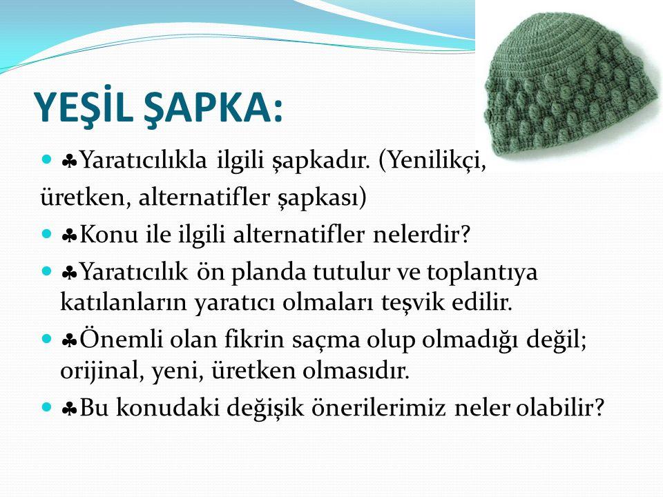 YEŞİL ŞAPKA:   Yaratıcılıkla ilgili şapkadır. (Yenilikçi, üretken, alternatifler şapkası)   Konu ile ilgili alternatifler nelerdir?   Yaratıcılı