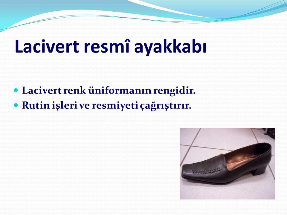 Lacivert resmî ayakkabı  Lacivert renk üniformanın rengidir.