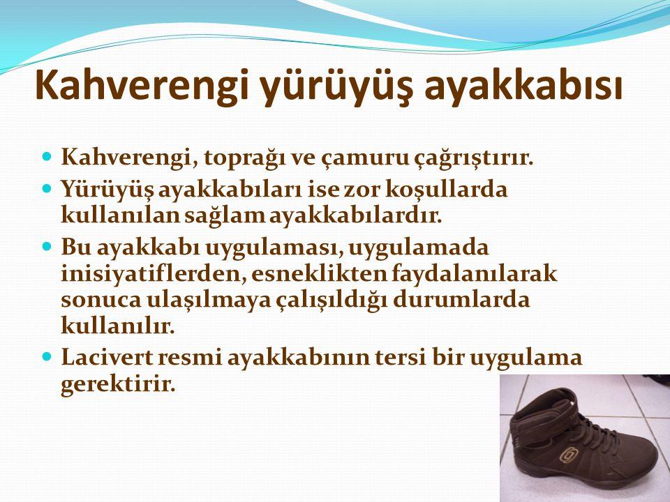 Kahverengi yürüyüş ayakkabısı  Kahverengi, toprağı ve çamuru çağrıştırır.  Yürüyüş ayakkabıları ise zor koşullarda kullanılan sağlam ayakkabılardır.