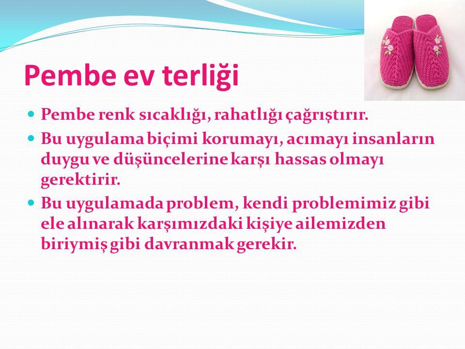 Pembe ev terliği  Pembe renk sıcaklığı, rahatlığı çağrıştırır.  Bu uygulama biçimi korumayı, acımayı insanların duygu ve düşüncelerine karşı hassas