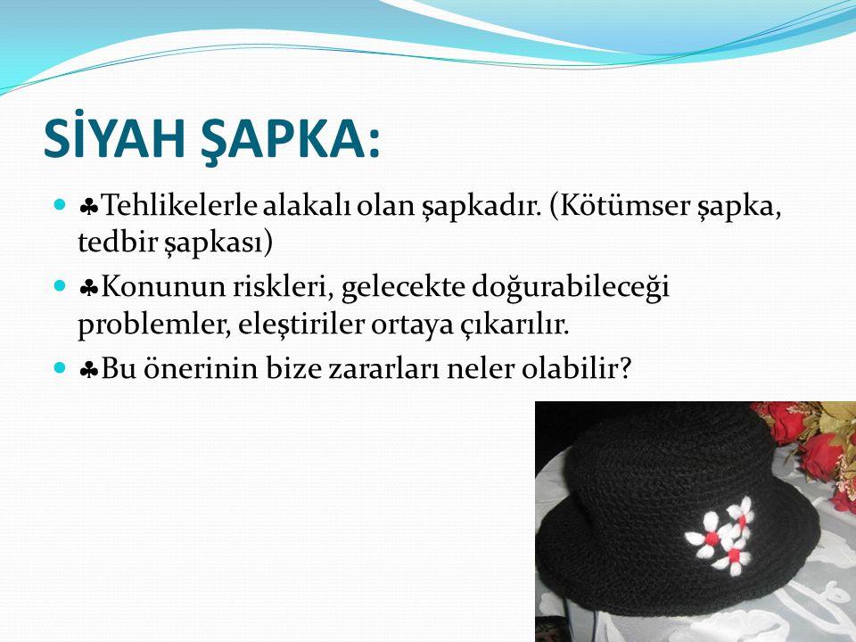 SİYAH ŞAPKA:   Tehlikelerle alakalı olan şapkadır. (Kötümser şapka, tedbir şapkası)   Konunun riskleri, gelecekte doğurabileceği problemler, eleşt