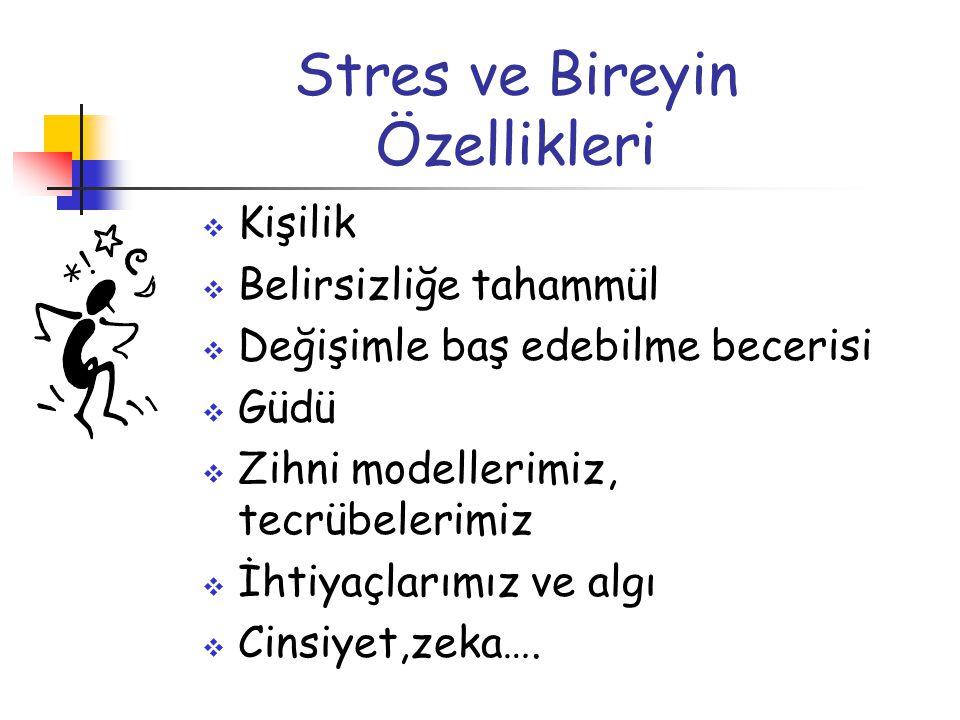 Stres ve Bireyin Özellikleri  Kişilik  Belirsizliğe tahammül  Değişimle baş edebilme becerisi  Güdü  Zihni modellerimiz, tecrübelerimiz  İhtiyaç