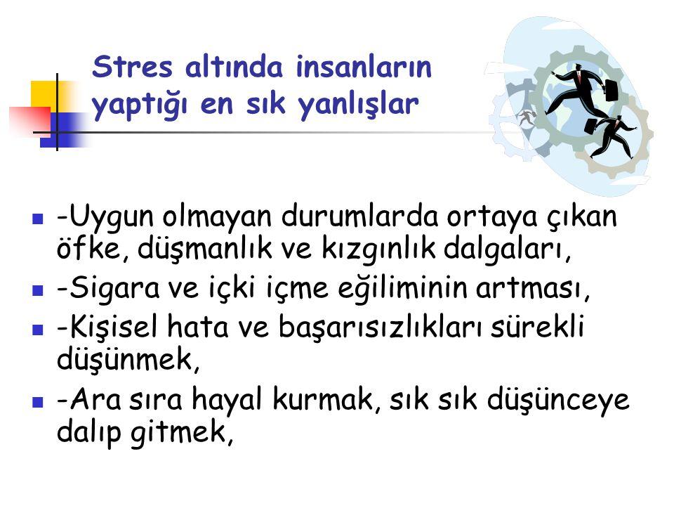 Stres altında insanların yaptığı en sık yanlışlar  -Uygun olmayan durumlarda ortaya çıkan öfke, düşmanlık ve kızgınlık dalgaları,  -Sigara ve içki i