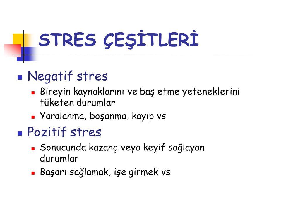 STRES ÇEŞİTLERİ  Negatif stres  Bireyin kaynaklarını ve baş etme yeteneklerini tüketen durumlar  Yaralanma, boşanma, kayıp vs  Pozitif stres  Son