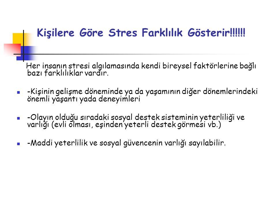 Kişilere Göre Stres Farklılık Gösterir!!!!!! Her insanın stresi algılamasında kendi bireysel faktörlerine bağlı bazı farklılıklar vardır.  -Kişinin g
