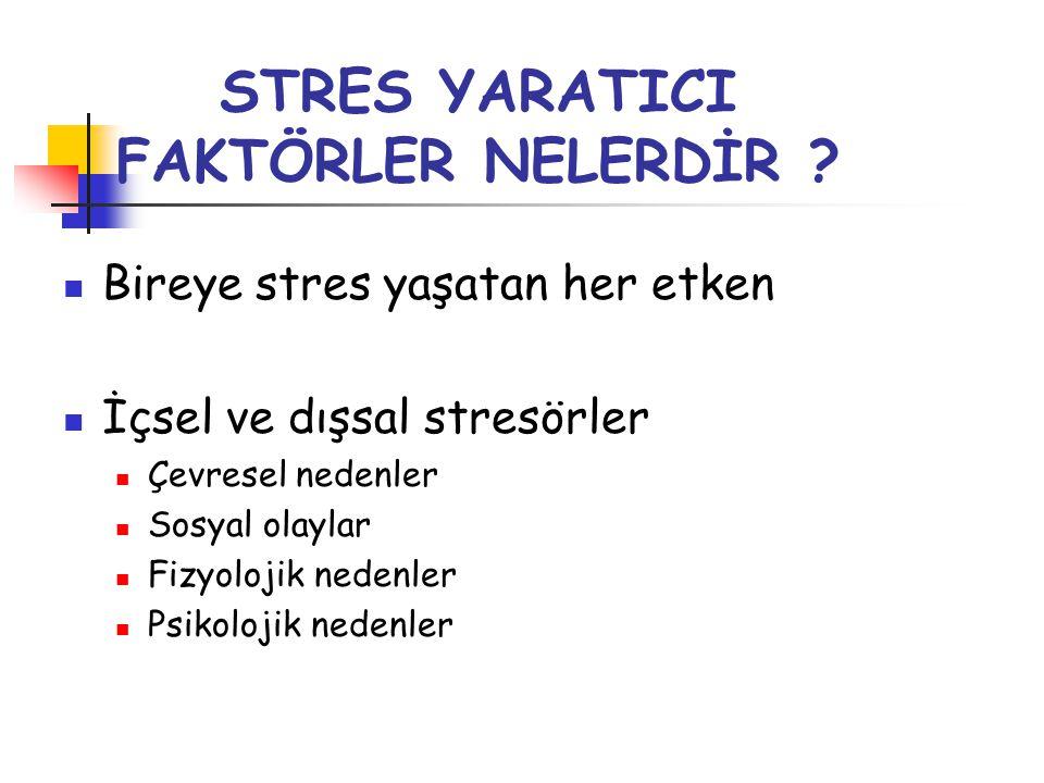 STRES YARATICI FAKTÖRLER NELERDİR ?  Bireye stres yaşatan her etken  İçsel ve dışsal stresörler  Çevresel nedenler  Sosyal olaylar  Fizyolojik ne