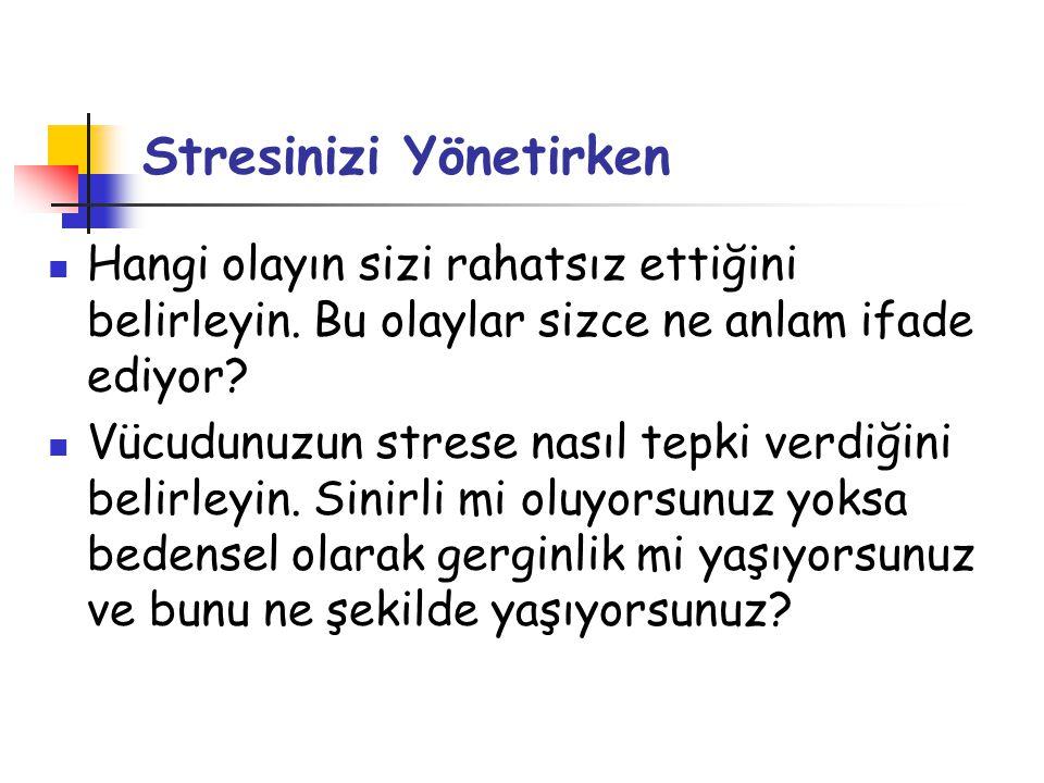 Stresinizi Yönetirken  Hangi olayın sizi rahatsız ettiğini belirleyin. Bu olaylar sizce ne anlam ifade ediyor?  Vücudunuzun strese nasıl tepki verdi