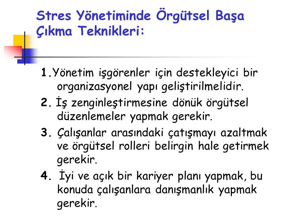 Stres Yönetiminde Örgütsel Başa Çıkma Teknikleri: 1.Yönetim işgörenler için destekleyici bir organizasyonel yapı geliştirilmelidir. 2. İş zenginleştir
