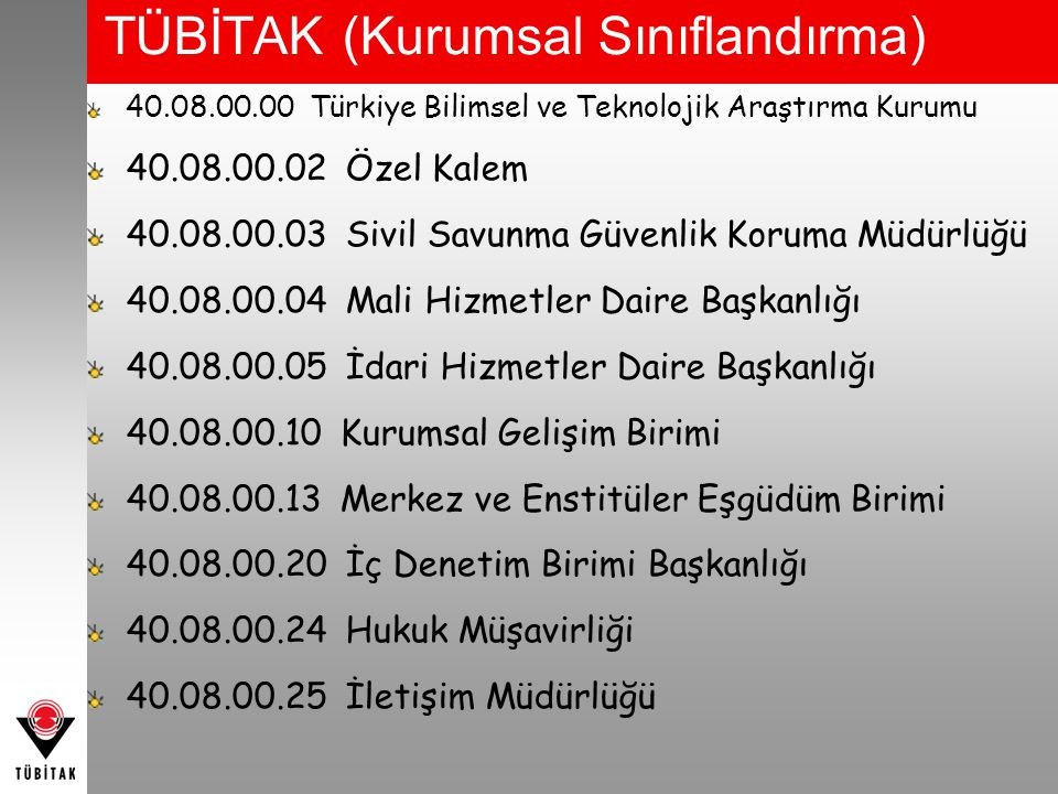 TÜBİTAK (Kurumsal Sınıflandırma) 40.08.00.00 Türkiye Bilimsel ve Teknolojik Araştırma Kurumu 40.08.00.02 Özel Kalem 40.08.00.03 Sivil Savunma Güvenlik