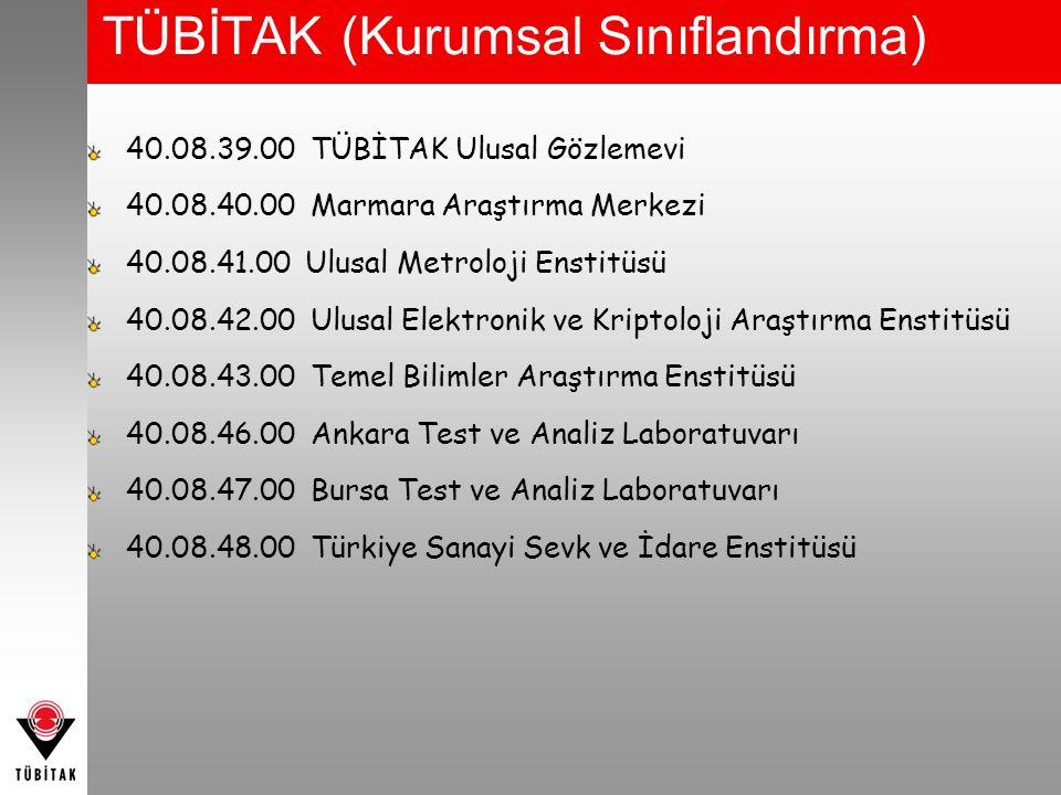 TÜBİTAK (Kurumsal Sınıflandırma) 40.08.39.00 TÜBİTAK Ulusal Gözlemevi 40.08.40.00 Marmara Araştırma Merkezi 40.08.41.00 Ulusal Metroloji Enstitüsü 40.