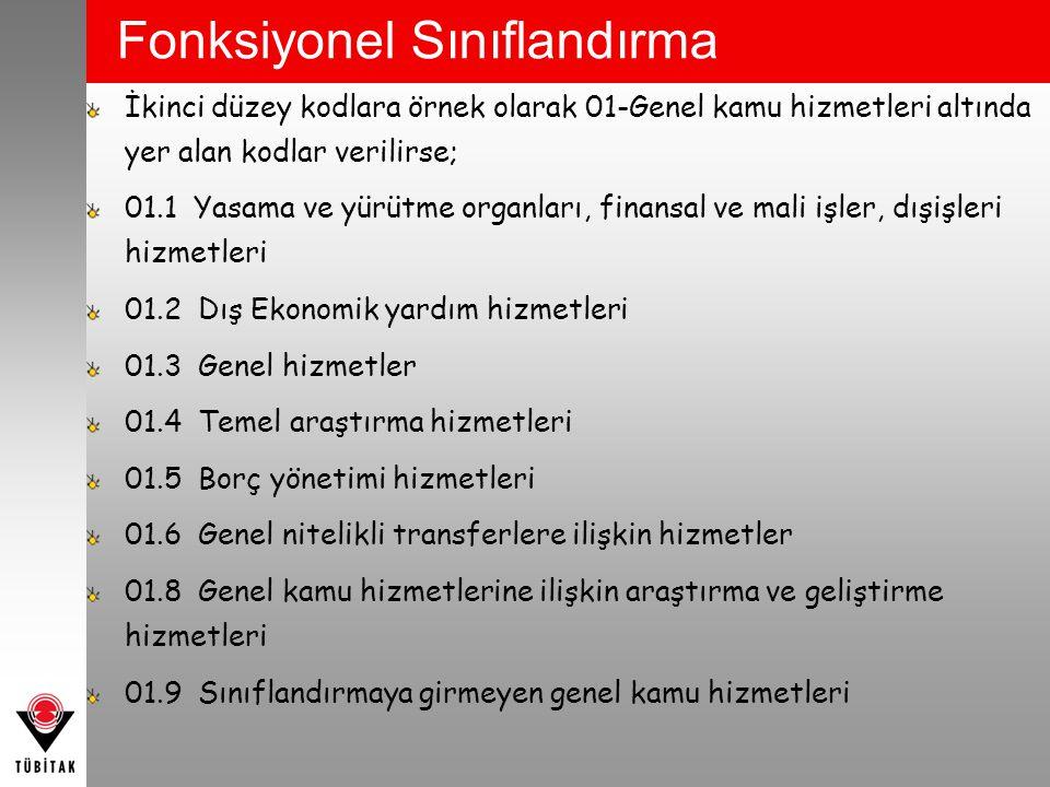 Fonksiyonel Sınıflandırma İkinci düzey kodlara örnek olarak 01-Genel kamu hizmetleri altında yer alan kodlar verilirse; 01.1 Yasama ve yürütme organla