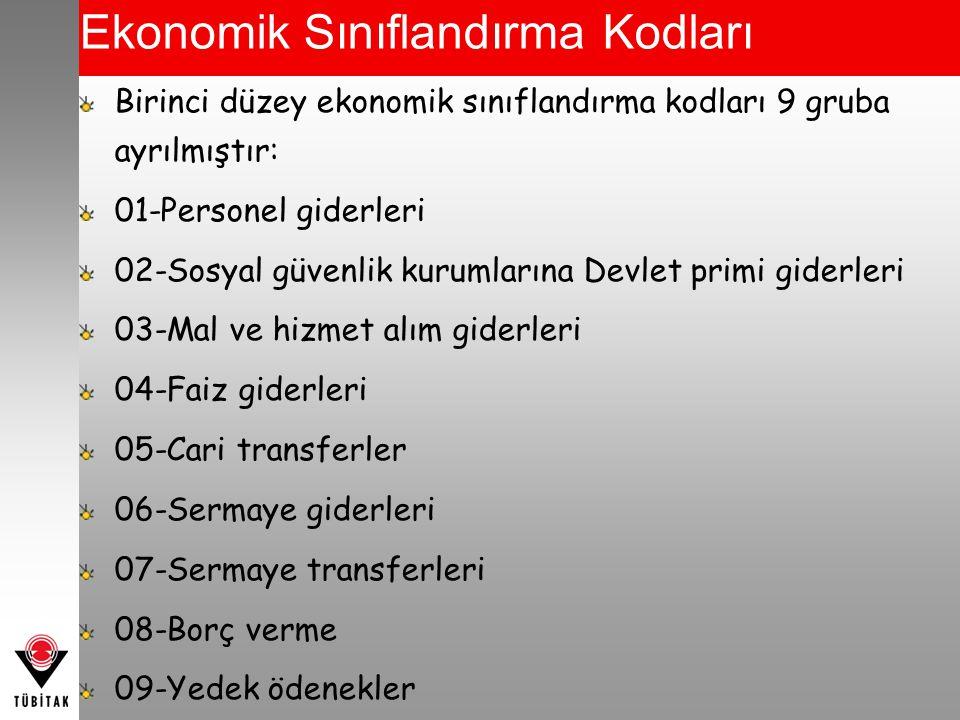 Ekonomik Sınıflandırma Kodları Birinci düzey ekonomik sınıflandırma kodları 9 gruba ayrılmıştır: 01-Personel giderleri 02-Sosyal güvenlik kurumlarına