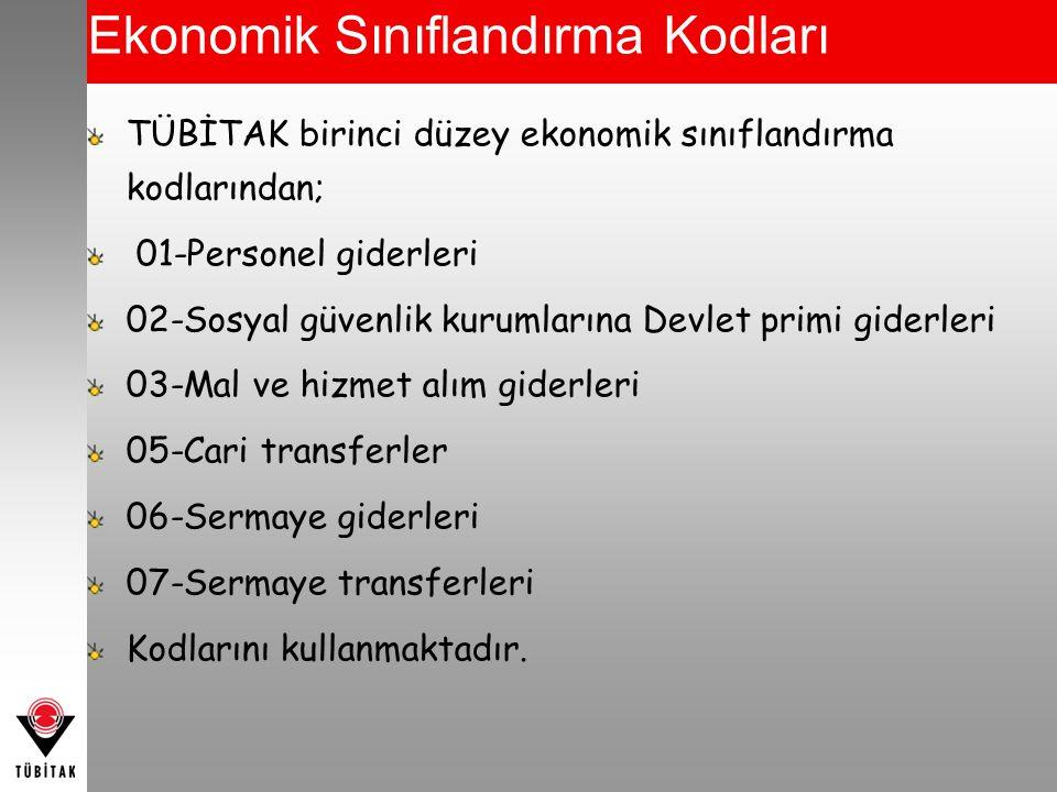 Ekonomik Sınıflandırma Kodları TÜBİTAK birinci düzey ekonomik sınıflandırma kodlarından; 01-Personel giderleri 02-Sosyal güvenlik kurumlarına Devlet p