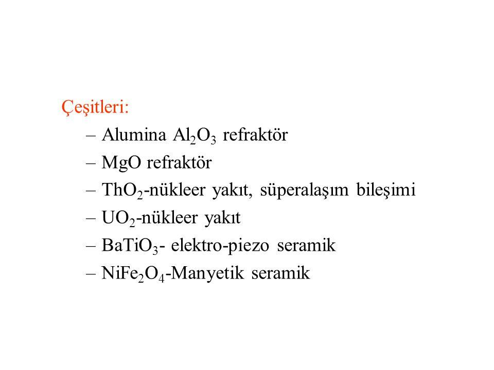 Çeşitleri: –Alumina Al 2 O 3 refraktör –MgO refraktör –ThO 2 -nükleer yakıt, süperalaşım bileşimi –UO 2 -nükleer yakıt –BaTiO 3 - elektro-piezo seramik –NiFe 2 O 4 -Manyetik seramik
