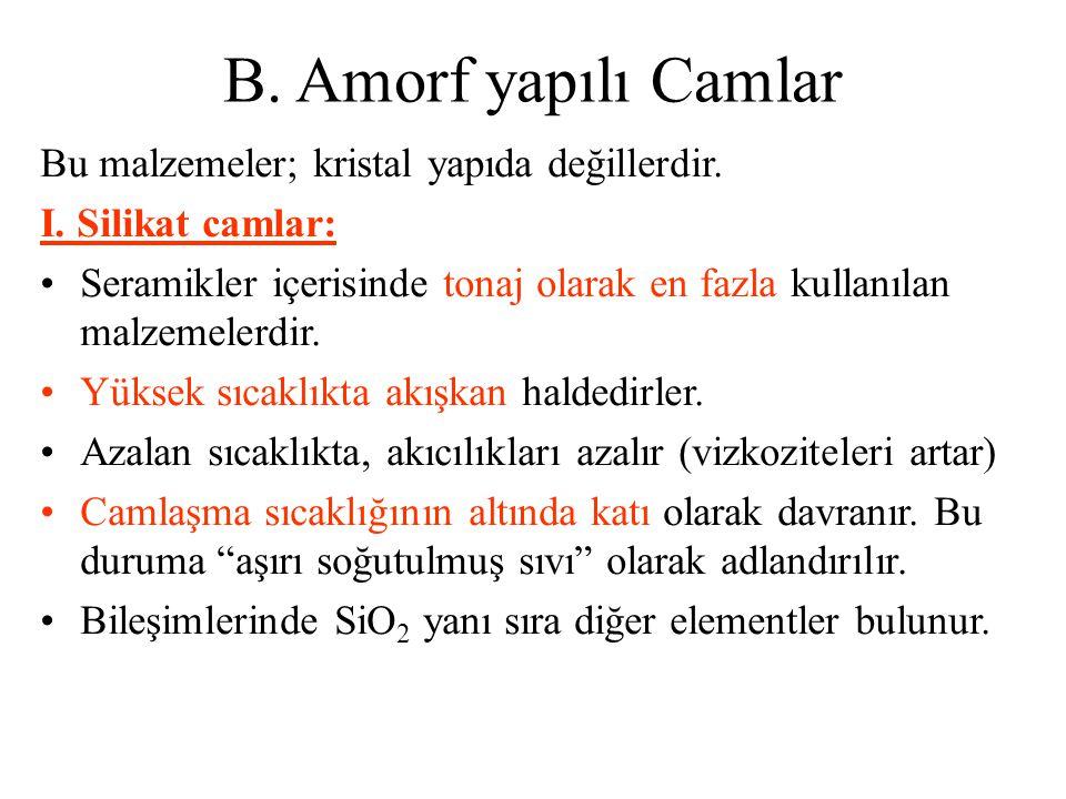 B.Amorf yapılı Camlar Bu malzemeler; kristal yapıda değillerdir.
