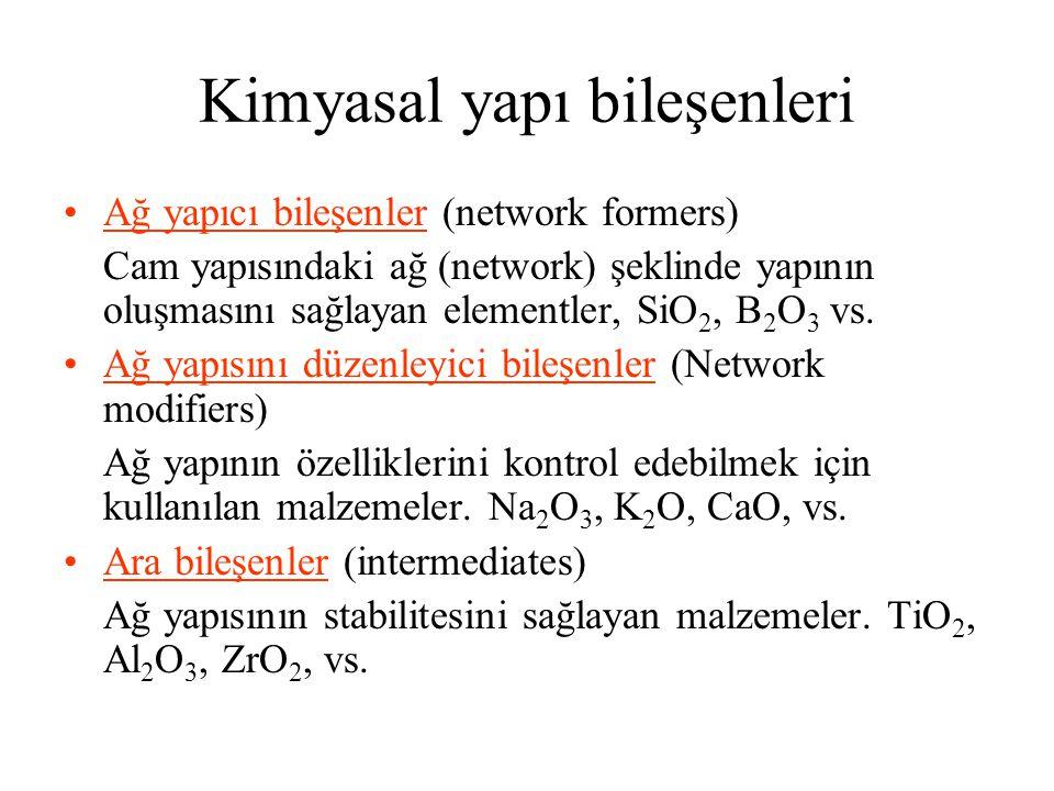 Kimyasal yapı bileşenleri •Ağ yapıcı bileşenler (network formers) Cam yapısındaki ağ (network) şeklinde yapının oluşmasını sağlayan elementler, SiO 2, B 2 O 3 vs.