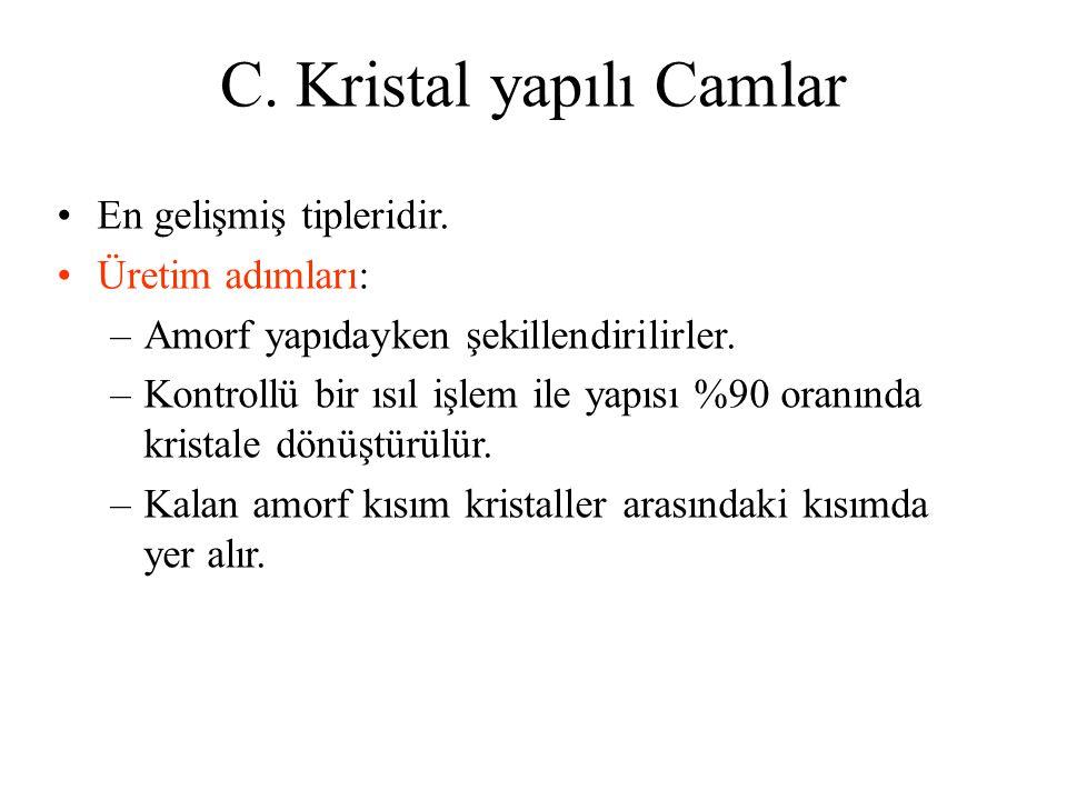C.Kristal yapılı Camlar •En gelişmiş tipleridir.