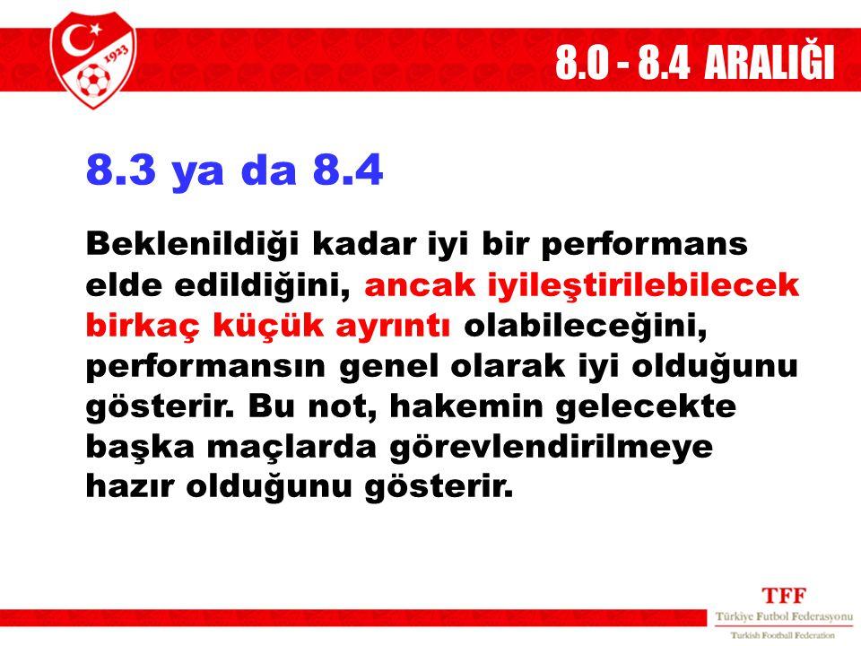 8.O - 8.4 ARALIĞI 8.3 ya da 8.4 Beklenildiği kadar iyi bir performans elde edildiğini, ancak iyileştirilebilecek birkaç küçük ayrıntı olabileceğini, p