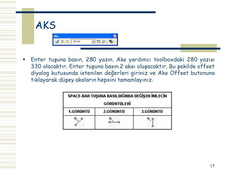 15 AKS  Enter tuşuna basın, 280 yazın. Aks yardımcı toolboxdaki 280 yazısı 330 olacaktır. Enter tuşuna basın.2 aksı oluşacaktır. Bu şekilde offset di