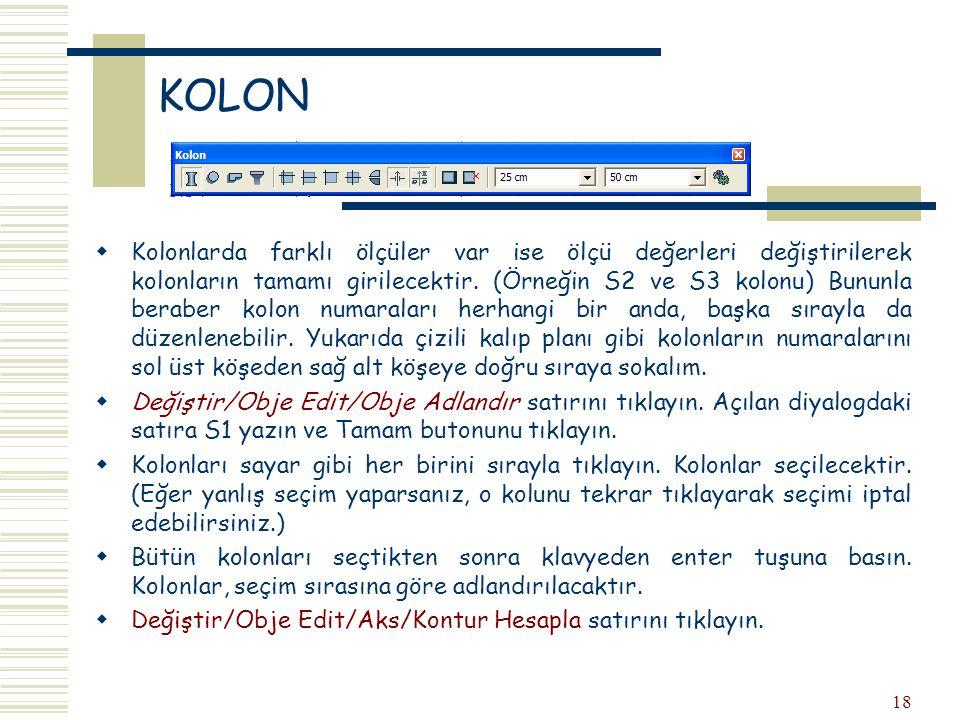 18 KOLON  Kolonlarda farklı ölçüler var ise ölçü değerleri değiştirilerek kolonların tamamı girilecektir. (Örneğin S2 ve S3 kolonu) Bununla beraber k