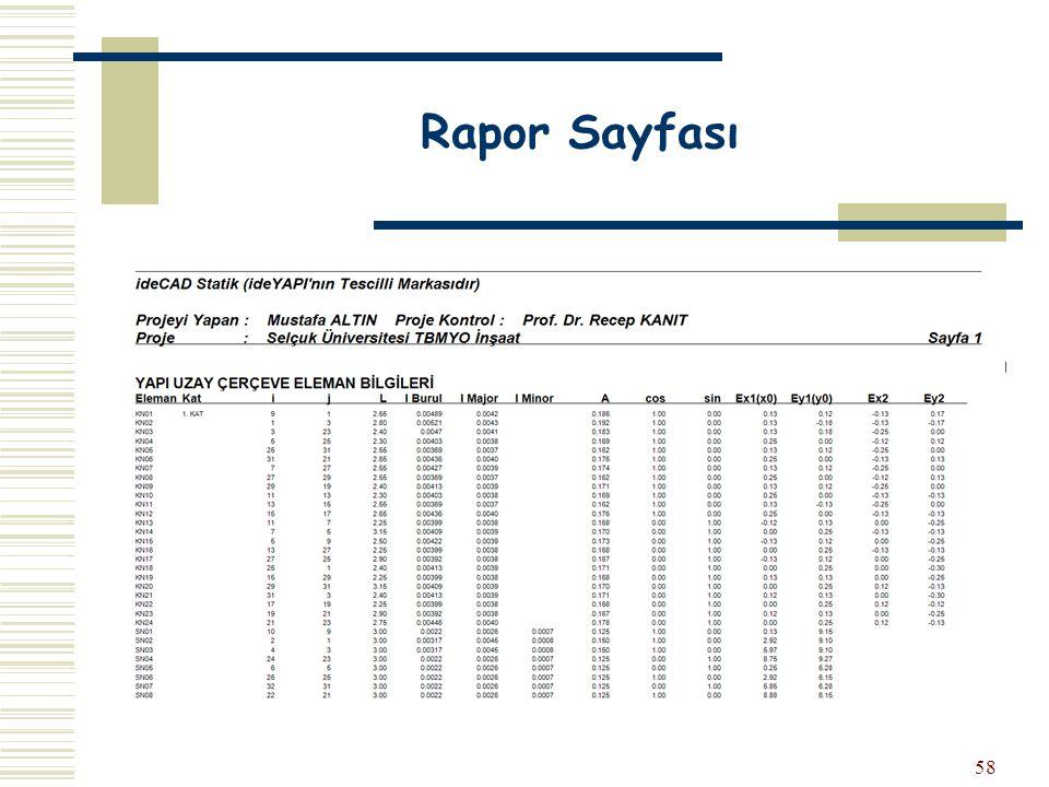 58 Rapor Sayfası