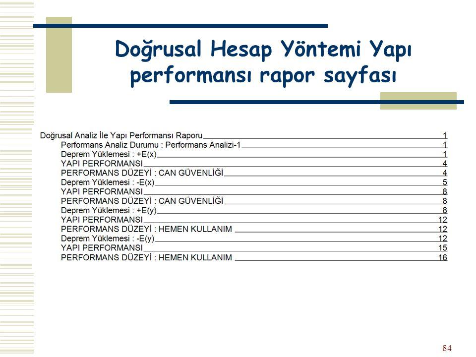 84 Doğrusal Hesap Yöntemi Yapı performansı rapor sayfası