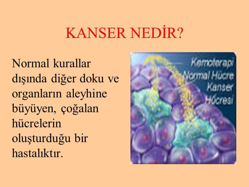 KANSER NEDİR? Normal kurallar dışında diğer doku ve organların aleyhine büyüyen, çoğalan hücrelerin oluşturduğu bir hastalıktır.