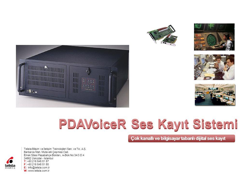 PDAVoiceR Ses Kayıt Sistemi Çok kanallı ve bilgisayar tabanlı dijital ses kayıt Telista Bilişim ve İletişim Teknolojileri San.