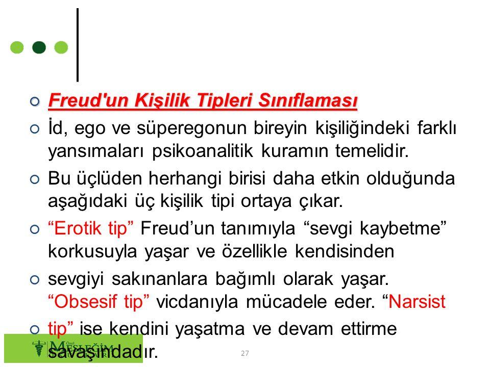 ○ Freud'un Kişilik Tipleri Sınıflaması ○ İd, ego ve süperegonun bireyin kişiliğindeki farklı yansımaları psikoanalitik kuramın temelidir. ○ Bu üçlüden