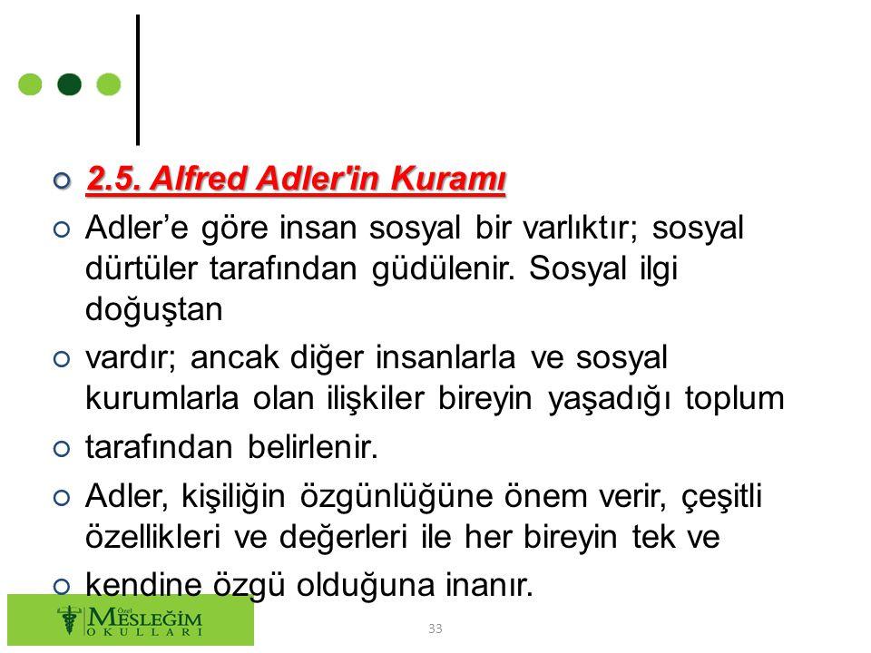 ○ 2.5. Alfred Adler'in Kuramı ○ Adler'e göre insan sosyal bir varlıktır; sosyal dürtüler tarafından güdülenir. Sosyal ilgi doğuştan ○ vardır; ancak di